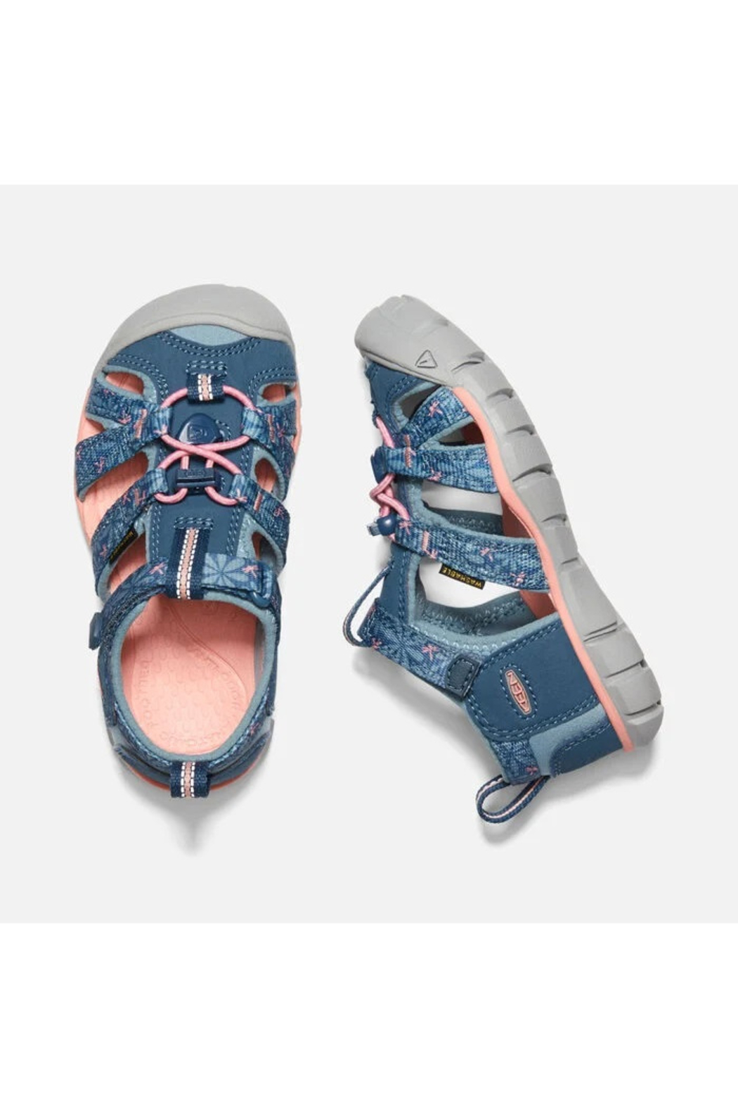 Keen Big Kids Seacamp II CNX in Real Teal/Stone Blue - Side Cropped Image