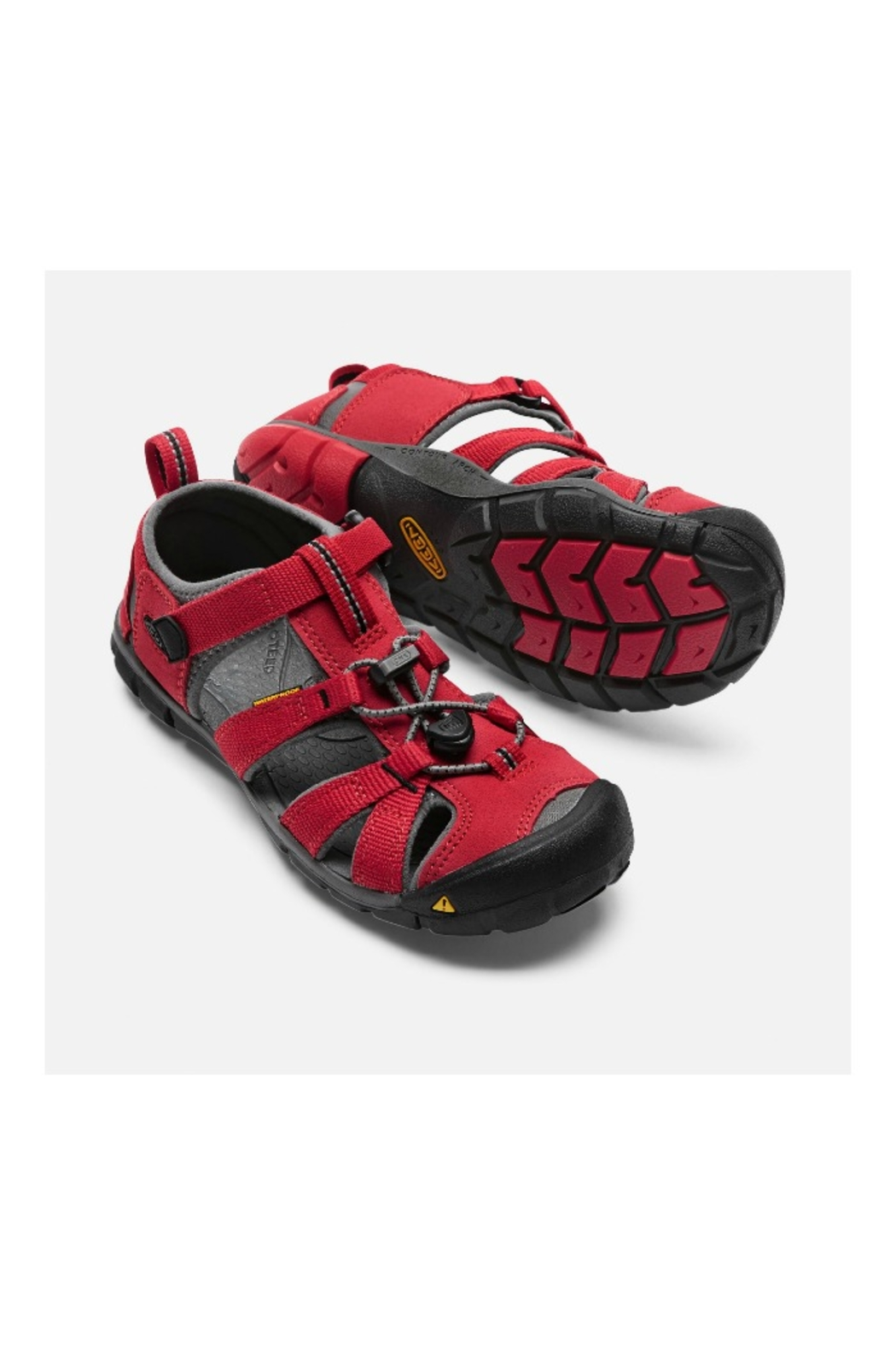 Keen Seacamp II CNX Youth in Racing Red/Gargoyle - Side Cropped Image