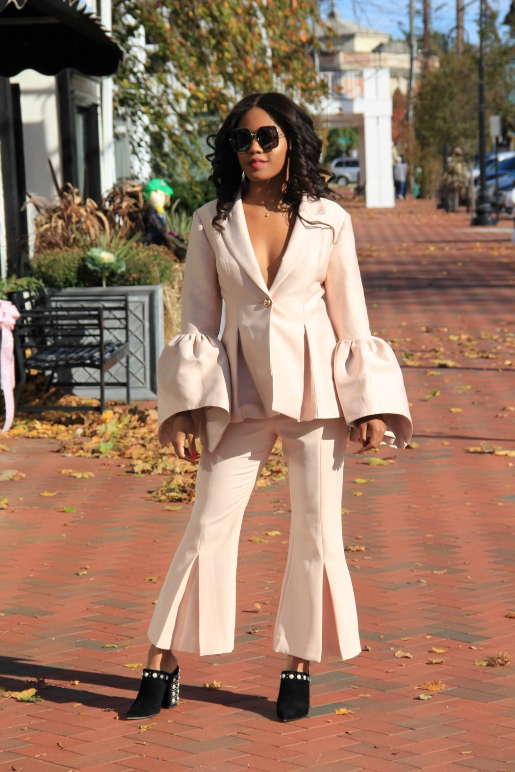 Keepsake Bell-Sleeve Suit Jacket - Front Full Image