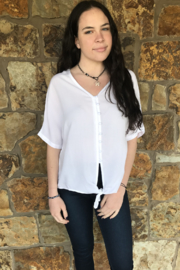 beachlunchlounge Kelli S/S Covered Button Tie Top - Front cropped