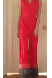 Tiny House of Fashion Kellie Red Colorblock Jumpsuit - Front full body