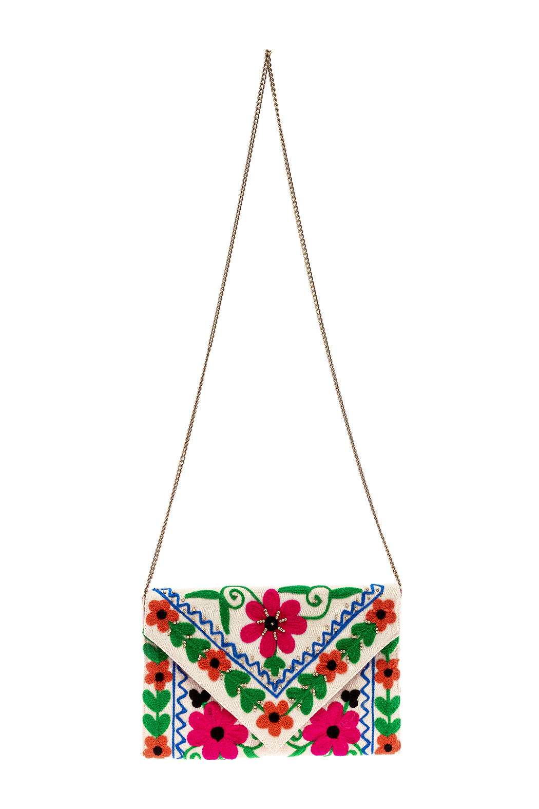 Kelly Fields Boutique Floral Embroidered Clutch - Front Cropped Image