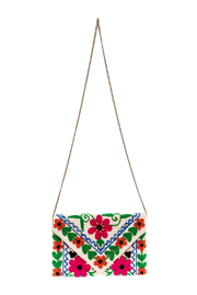 Kelly Fields Boutique Floral Embroidered Clutch - Front cropped