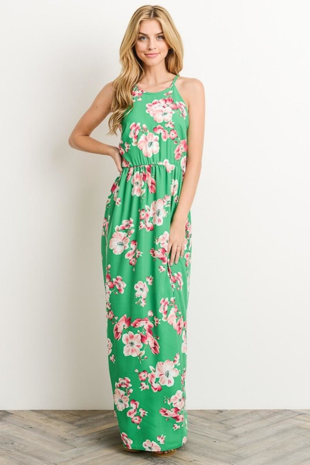Soprano Kelly-Green Floral Maxi - Front Full Image