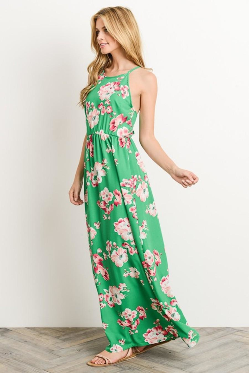 Soprano Kelly-Green Floral Maxi - Back Cropped Image