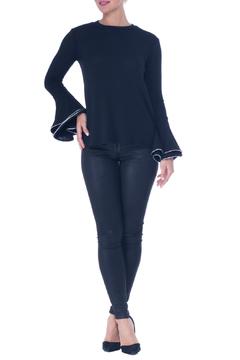 Atina Cristina Kelly Jewel Neck Knit w Silver Tipped Bell Sleeve - Product List Image
