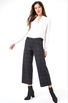 Liverpool Kelsey Stovepipe Trouser Black/Grey Plaid - Product List Image