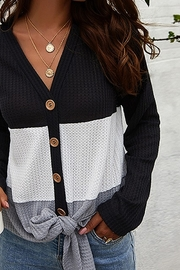 Esley Kendall's Big Stripe Light Knit Cardigan Sweater - Product Mini Image