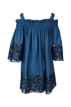 Shoptiques Product: Blue Embroidered Chambray Dress