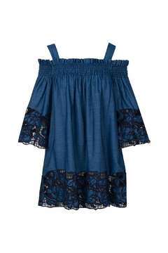 Kendall + Kylie Blue Embroidered Chambray Dress - Alternate List Image