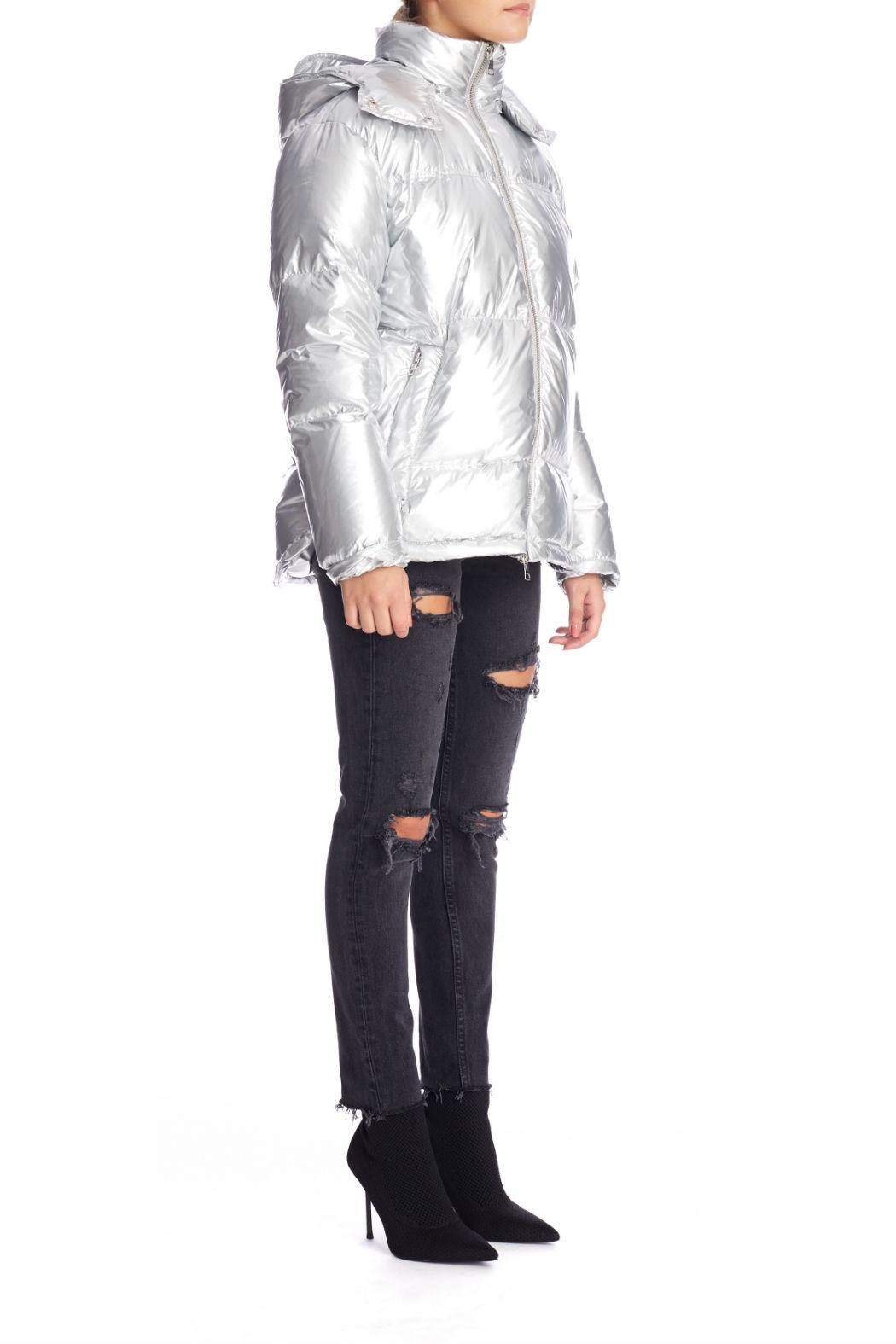 Kendall + Kylie Silver Puffer Jacket - Front Full Image