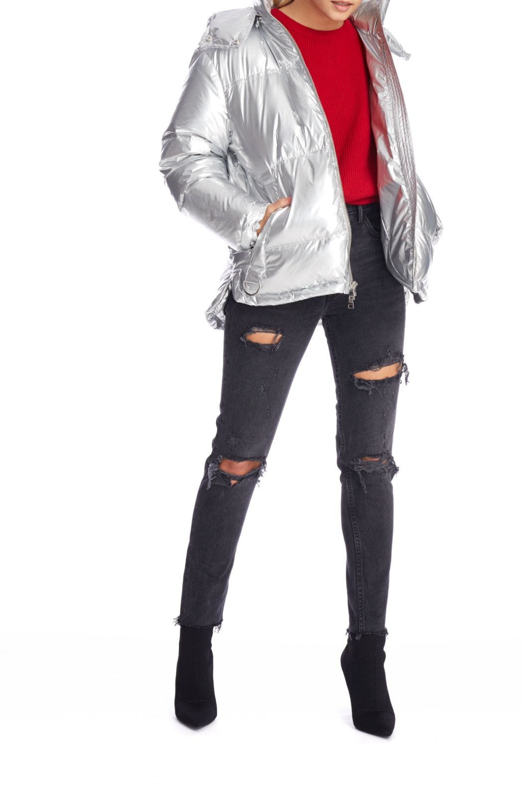 Kendall + Kylie Silver Puffer Jacket - Back Cropped Image