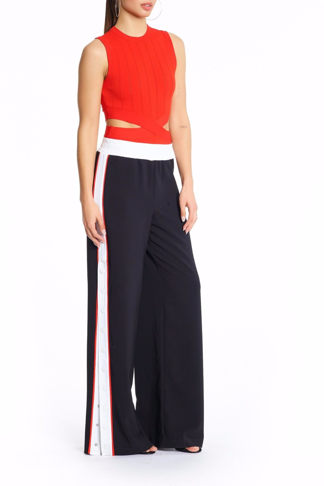 Kendall + Kylie Snap Track Pants - Front Full Image