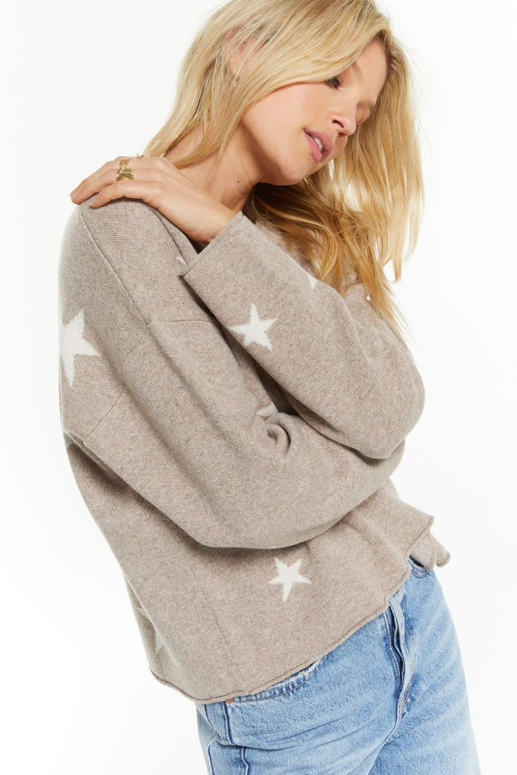 z supply Kennedy Star Sweater - Side Cropped Image