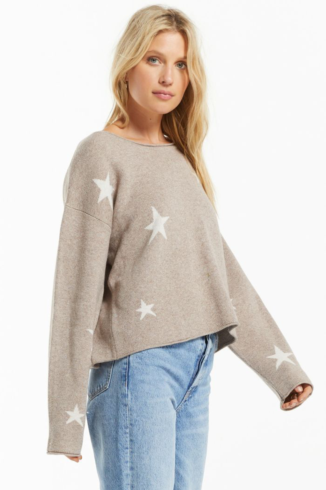 z supply Kennedy Star Sweater - Back Cropped Image