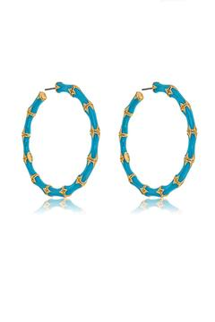Kenneth Jay Lane Turquoise Bamboo Hoop - Product List Image