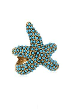 Kenneth Jay Lane Turquoise Starfish Ring - Product List Image