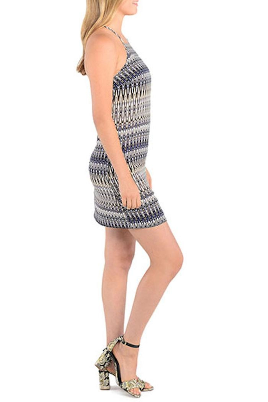 Kensie Strappy Patterned Shift Dress - Front Full Image