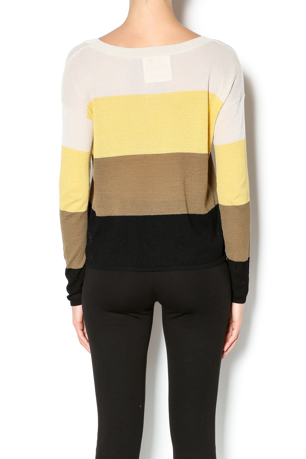 Kensie Striped Lightweight Sweater - Back Cropped Image