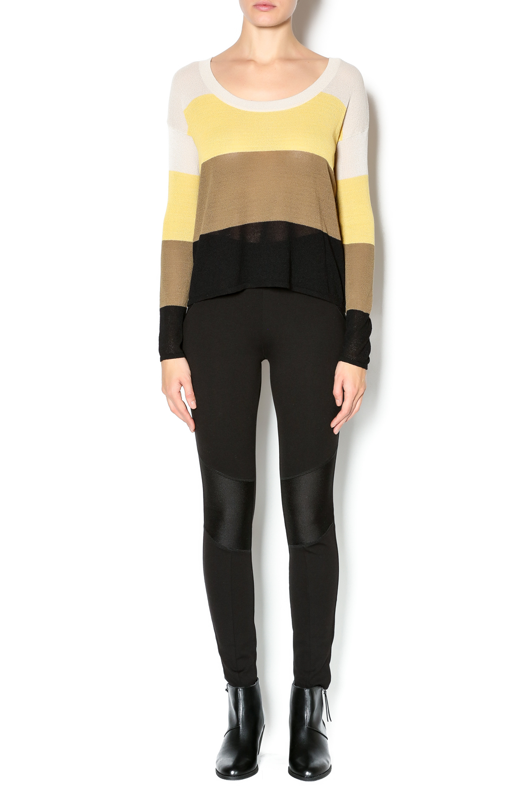 Kensie Striped Lightweight Sweater - Front Full Image