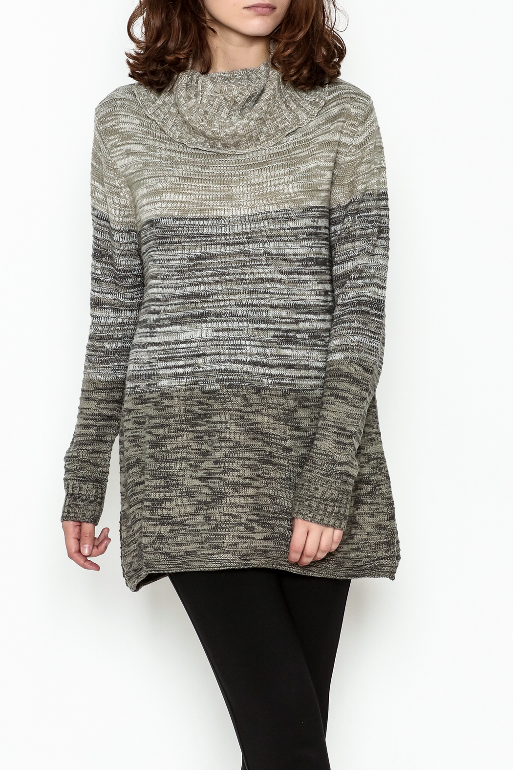 Keren Hart Variegated Cowl Neck Sweater - Front Cropped Image