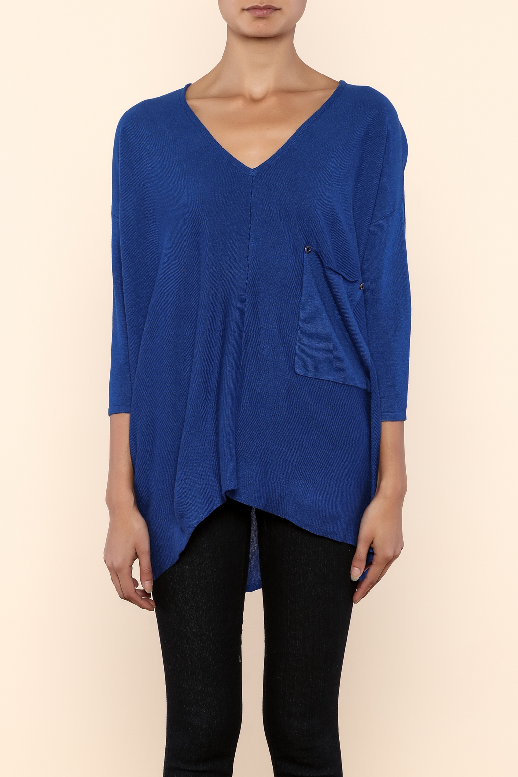 Kerisma Blue V-Neck Sweater - Side Cropped Image