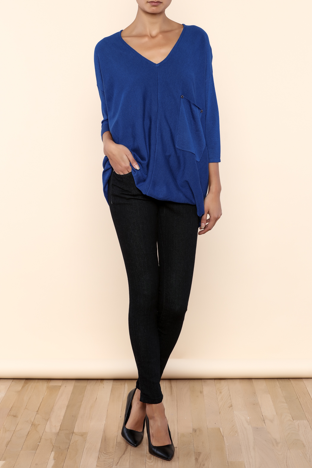 Kerisma Blue V-Neck Sweater - Front Full Image
