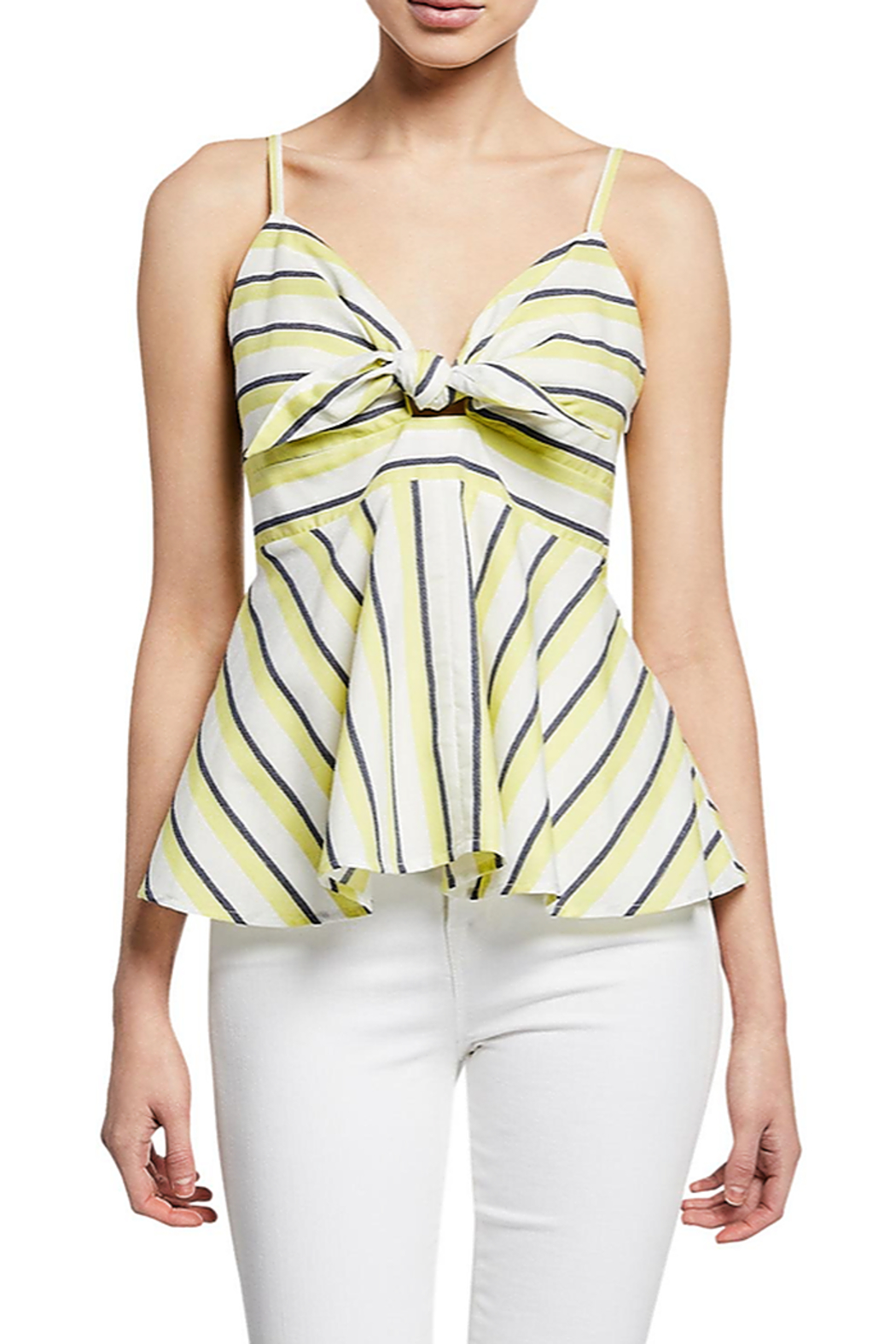 Cupcakes and Cashmere Kerria Stripe Peplum Top - Front Cropped Image