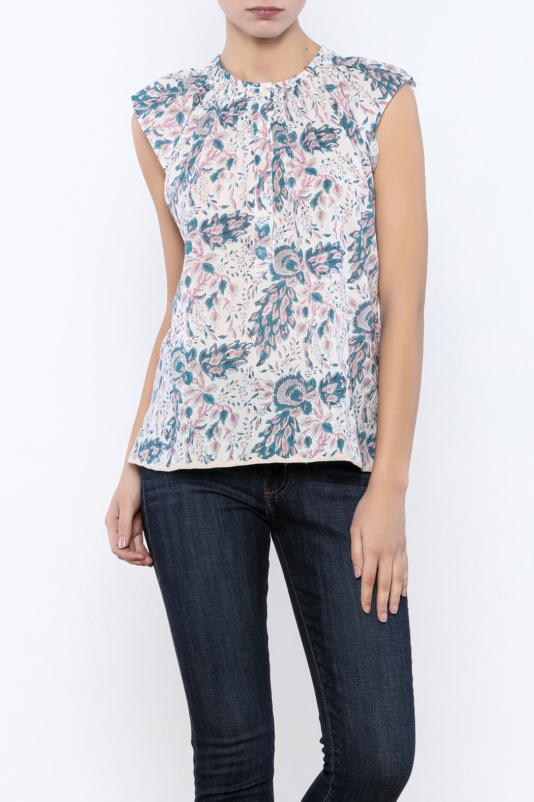 Kerry Cassill Short Sleeve Henley Top - Front Cropped Image