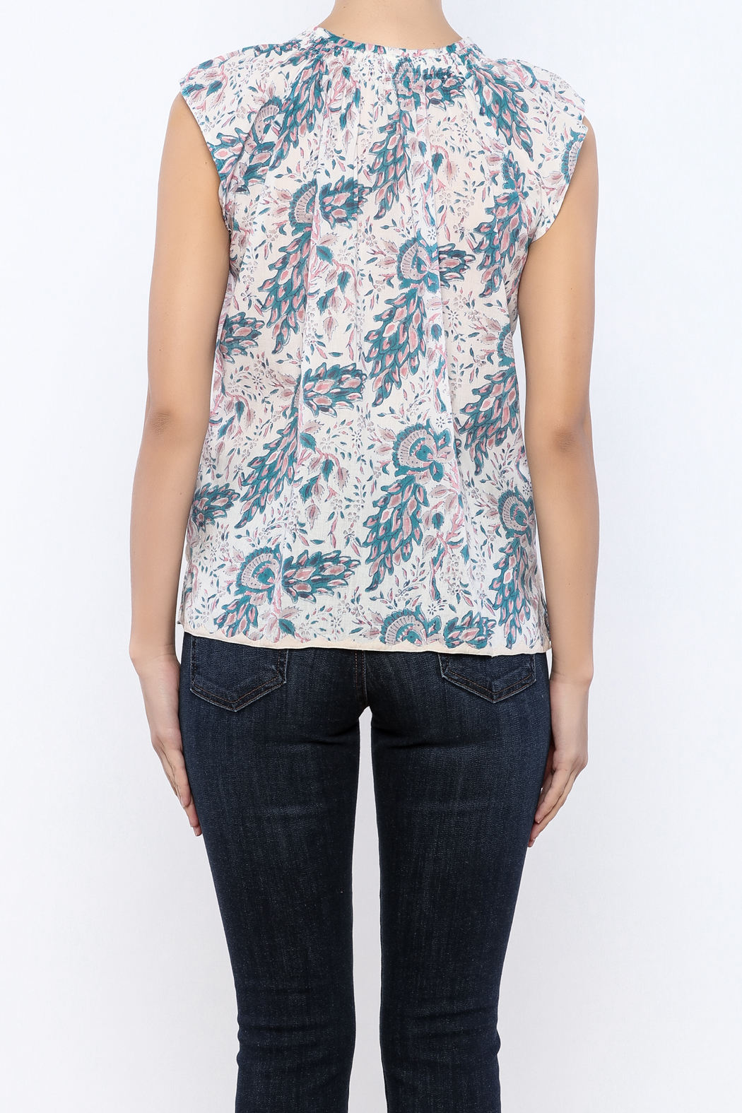 Kerry Cassill Short Sleeve Henley Top - Back Cropped Image