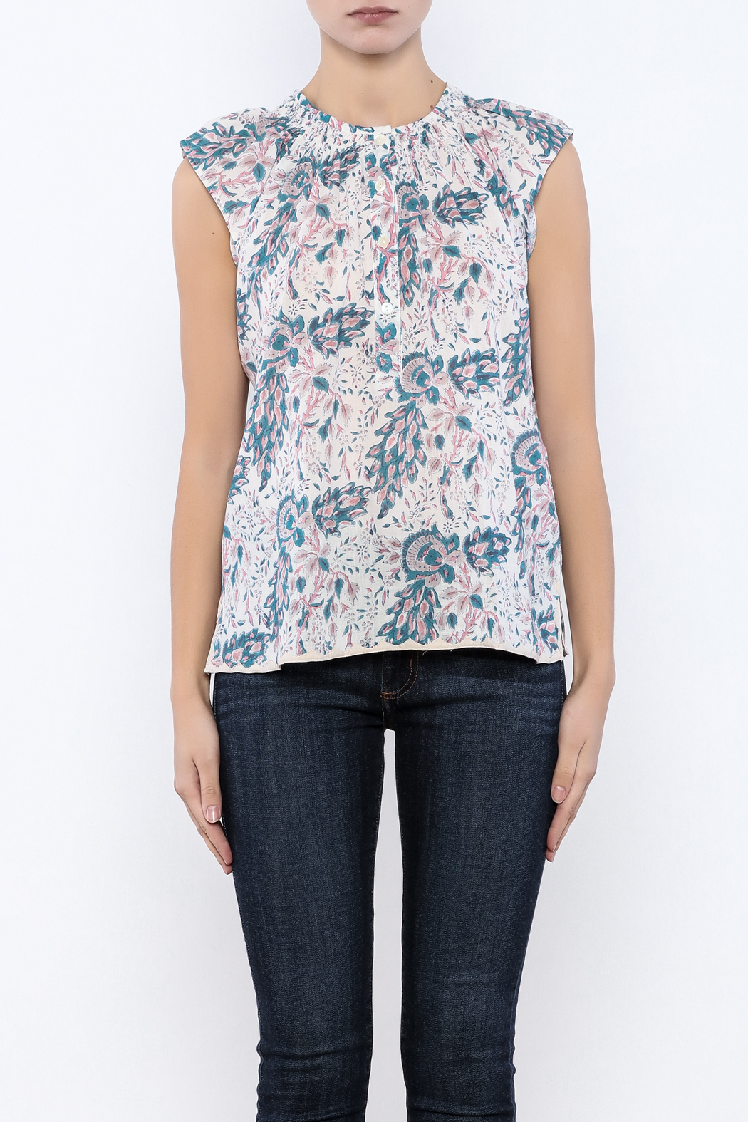 Kerry Cassill Short Sleeve Henley Top - Side Cropped Image