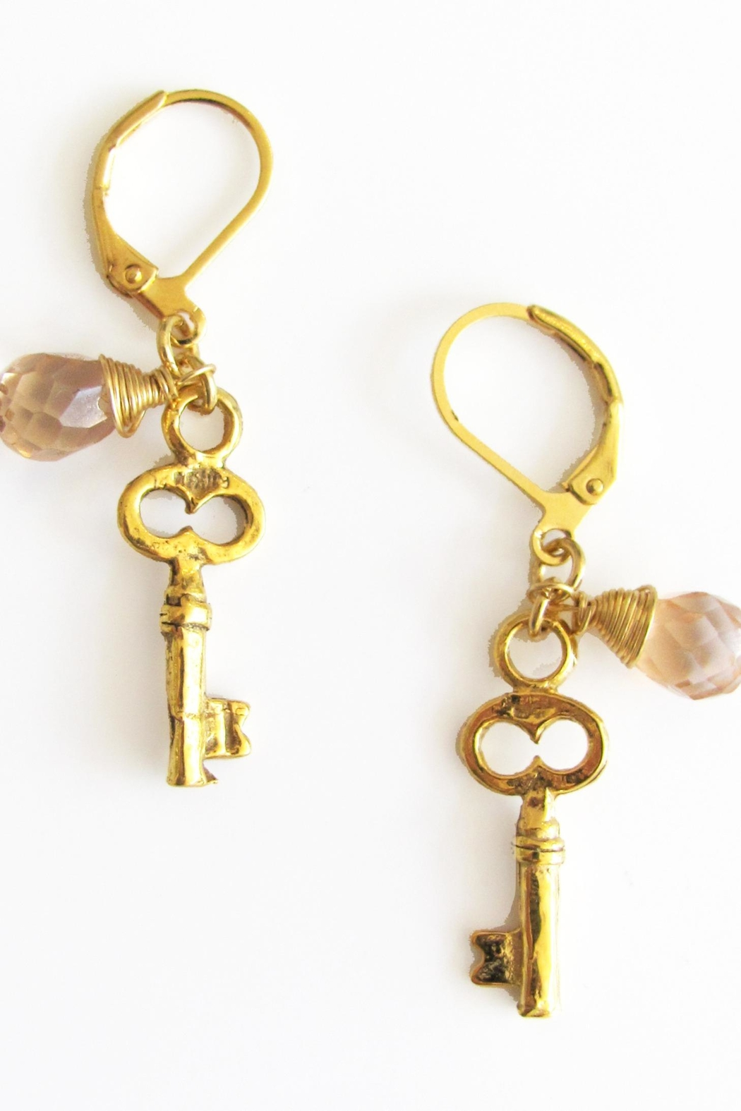Malia Jewelry Key Pink-Crystal Earrings - Front Full Image