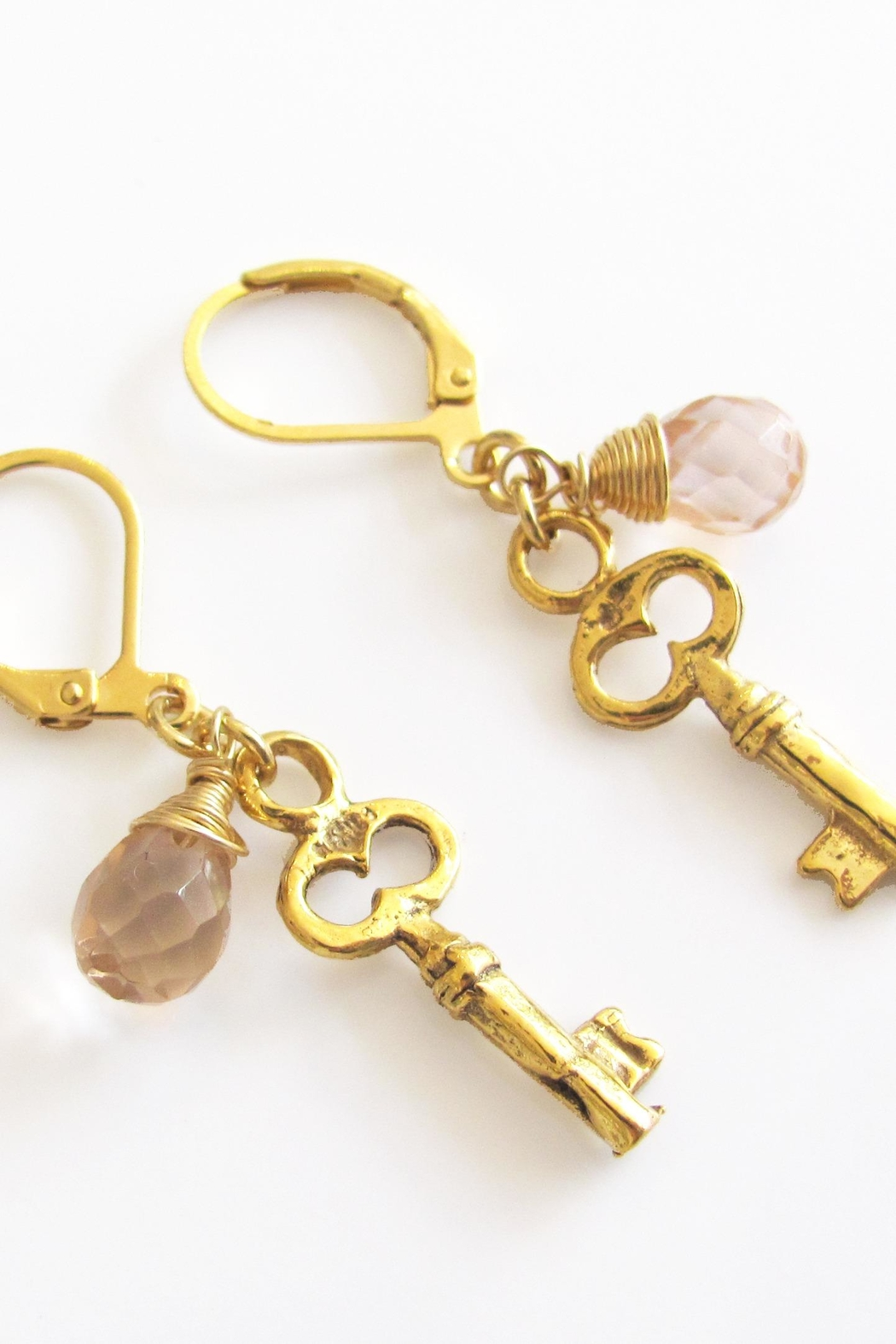 Malia Jewelry Key Pink-Crystal Earrings - Side Cropped Image