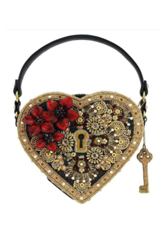 Shoptiques Product: Key To My Heart Embellished Heart Lock & Key Top Handle Bag