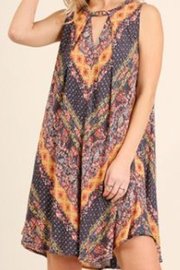 Umgee Keyhole Print Dress - Front cropped