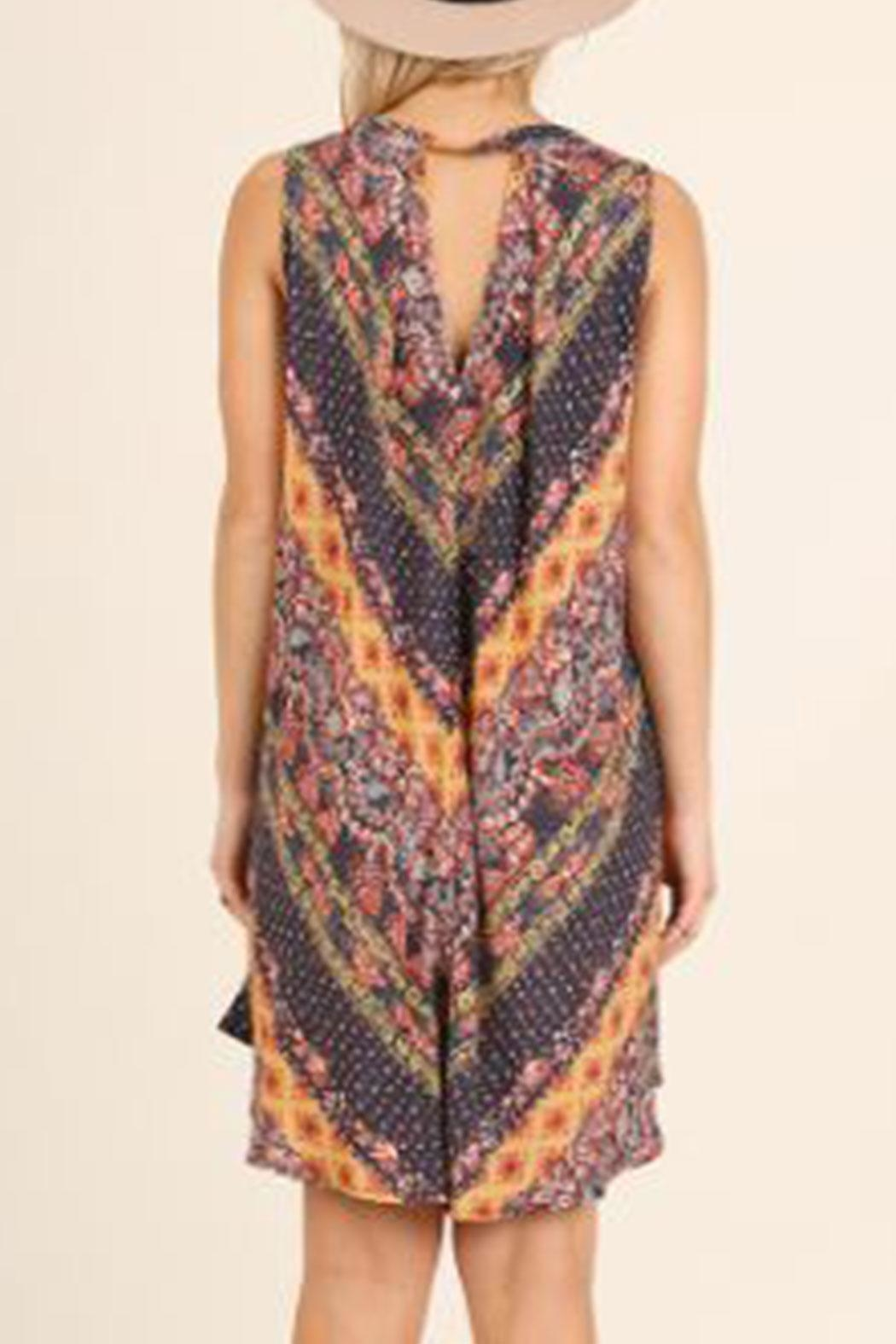 Umgee Keyhole Print Dress - Front Full Image