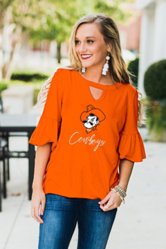 Gameday Couture Keyhole ruffle sleeve - Product List Image