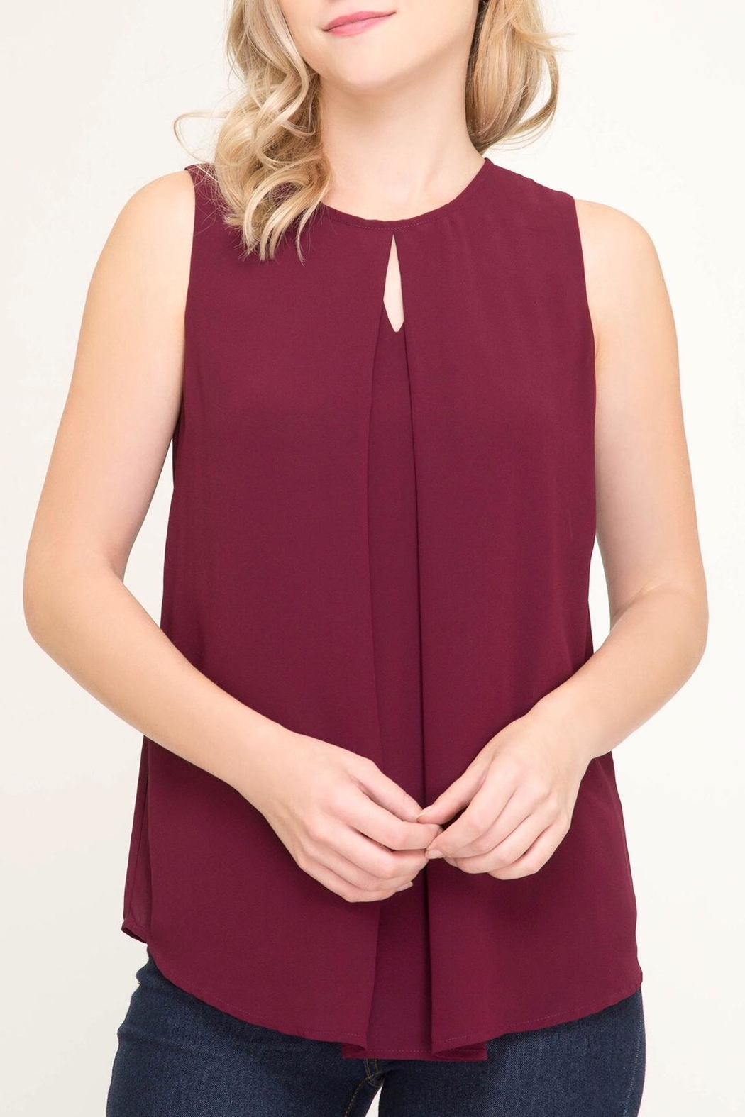 LuLu's Boutique Keyhole Sleeveless Blouse - Main Image