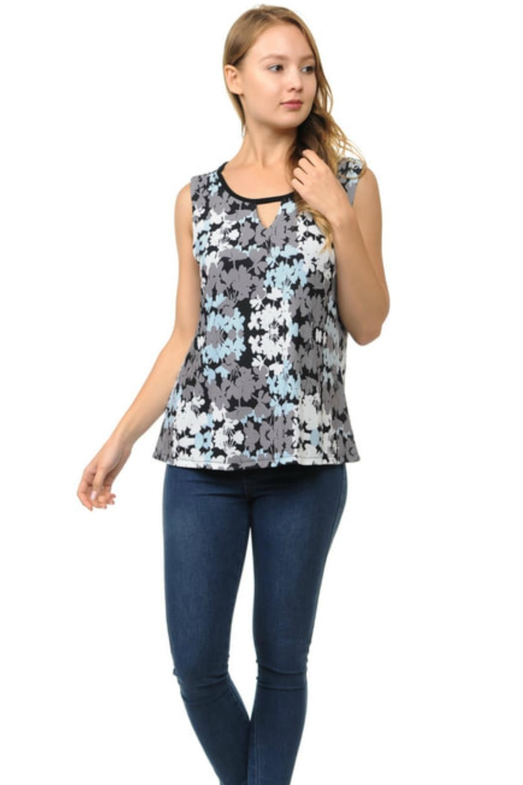 Cubism Keyhole Sleeveless Top - Front Cropped Image