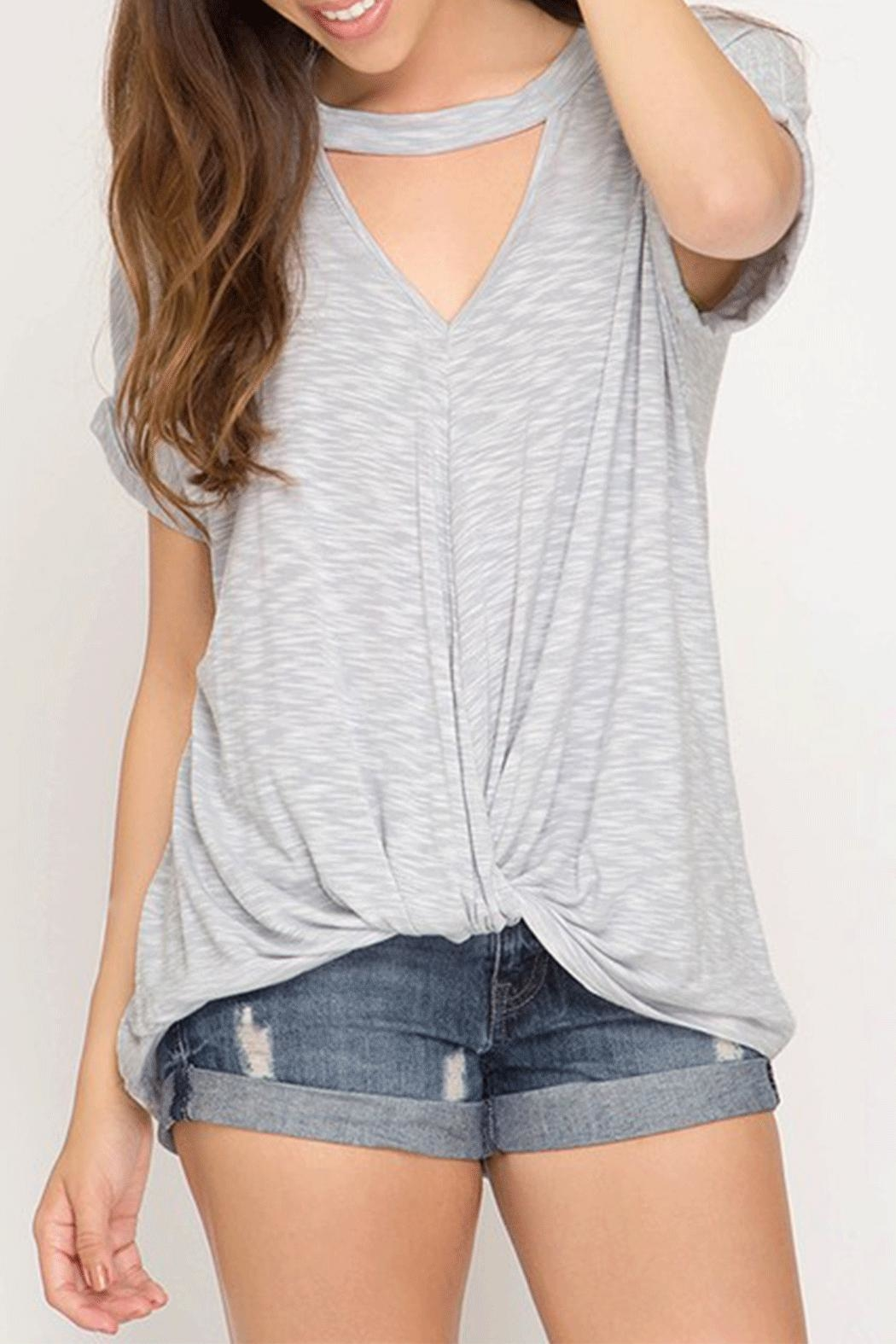 She + Sky Keyhole Twist Top - Front Cropped Image