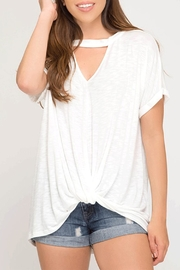 She + Sky Keyhole Twist Top - Front cropped