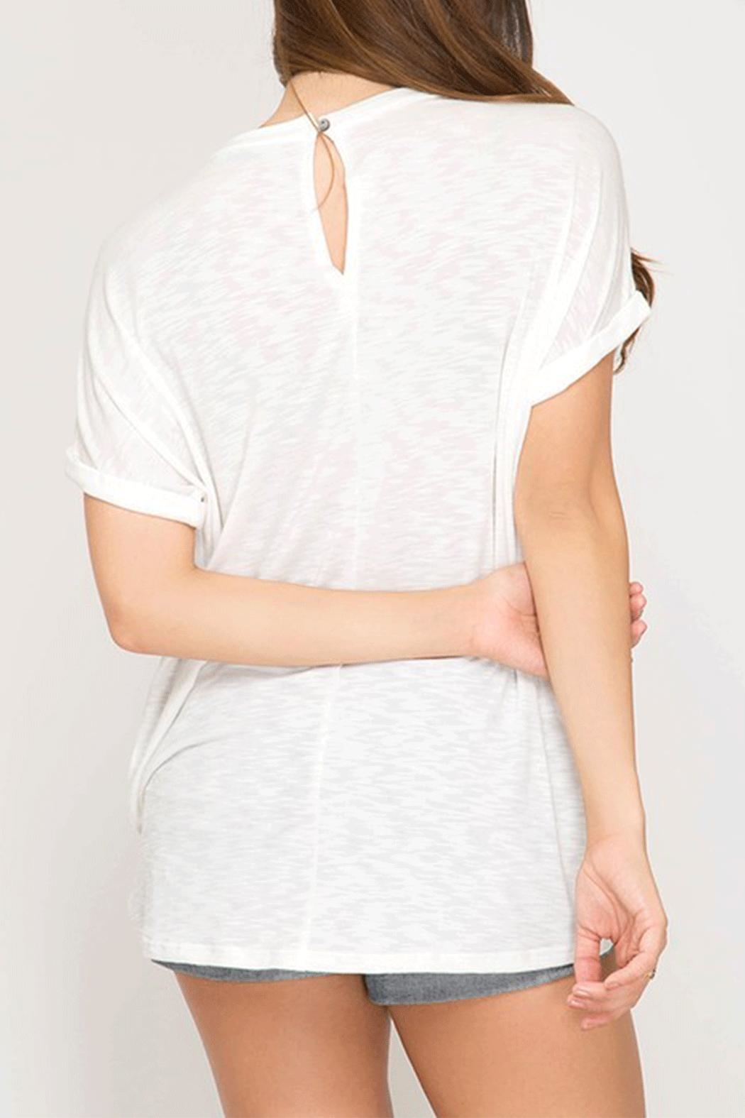 She + Sky Keyhole Twist Top - Front Full Image
