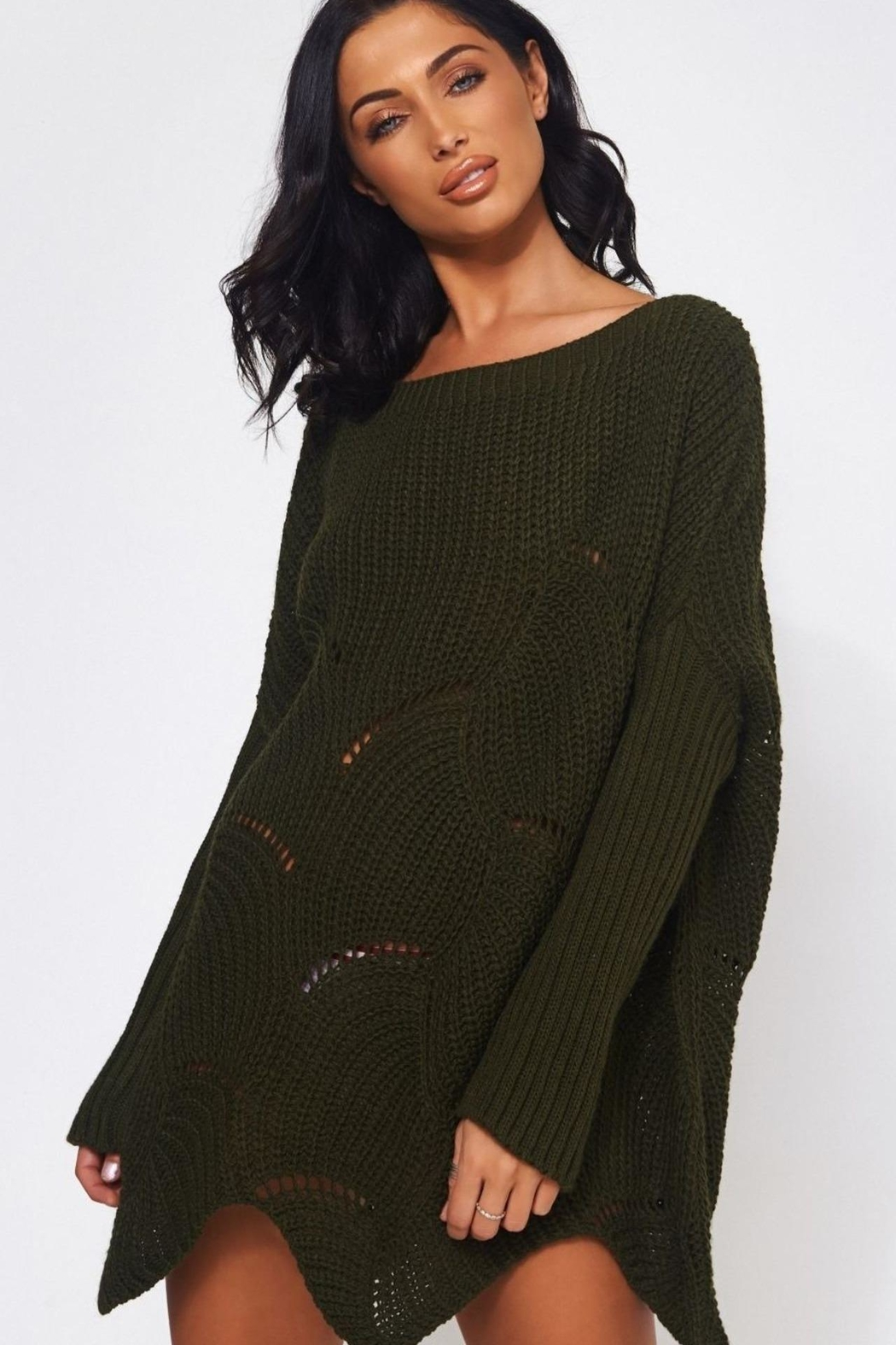 Urban Touch Khaki Ribbedsleeve Jumper - Main Image
