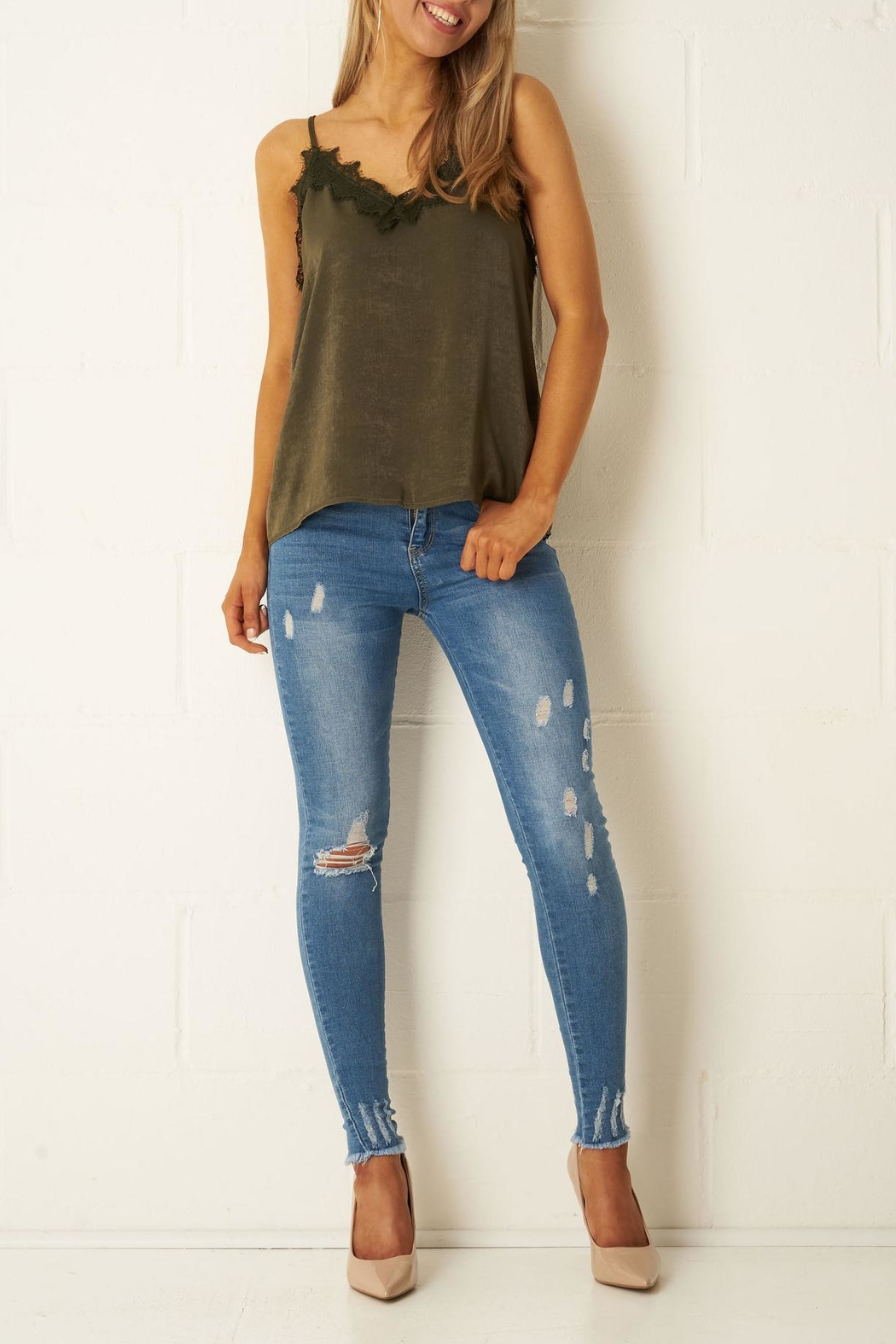 frontrow Khaki Satin-Lace Top - Front Full Image