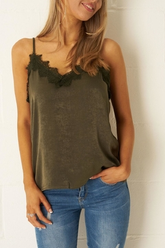 frontrow Khaki Satin-Lace Top - Product List Image
