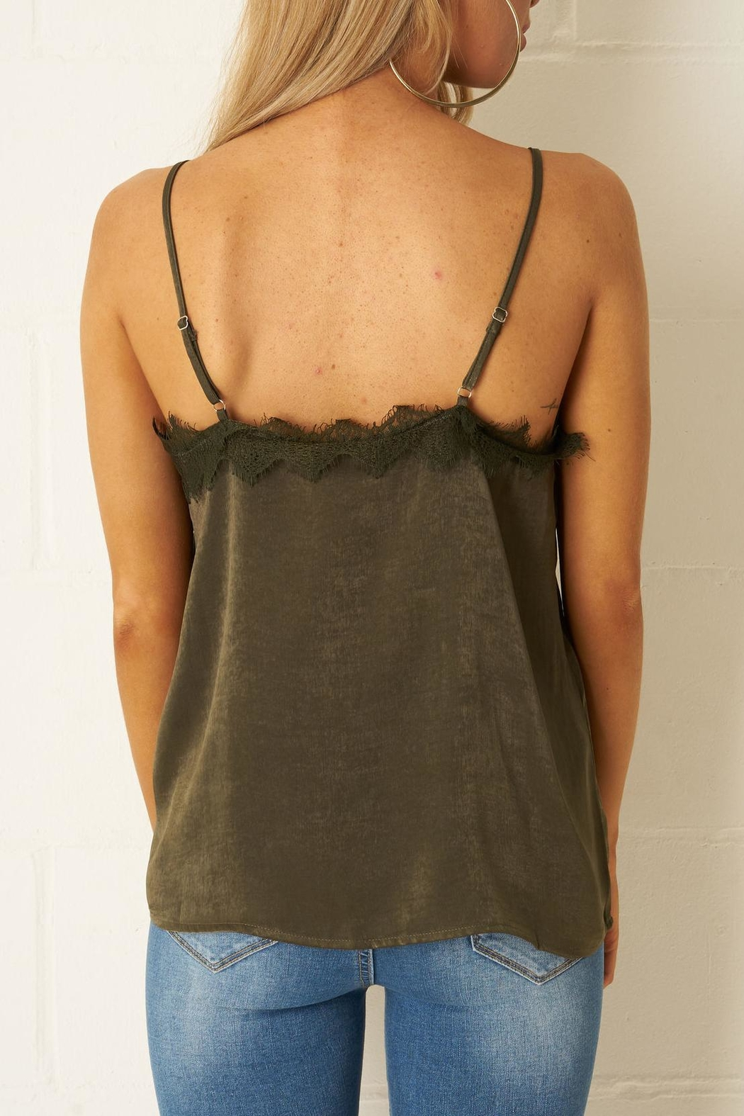 frontrow Khaki Satin-Lace Top - Side Cropped Image