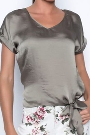Frank Lyman Khaki top with tie on side - Product Mini Image