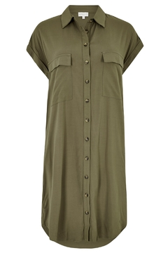 Apricot Khaki Utility Shirt Dress - Alternate List Image