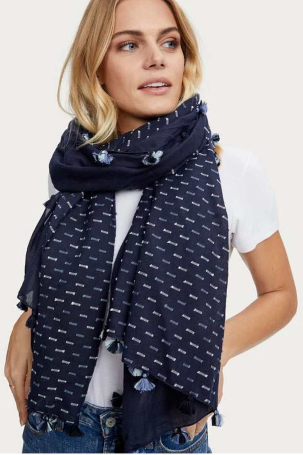 Michael Stars Khloe Scarf w/ Tassels - Front Cropped Image