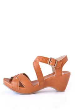 Khrio Cognac Leather Wedge - Product List Image